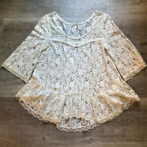 Free People ivory lace top size L